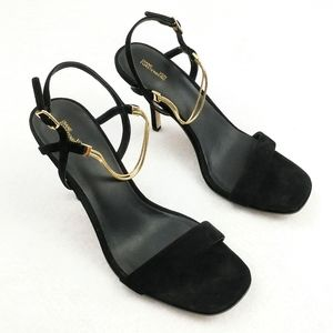DVF NEW Frankie Suede and Gold Sandals Size 38